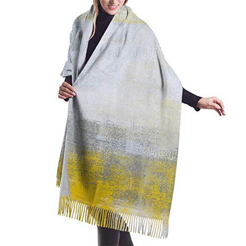 Tengyuntong Damen Wickeldecke Schal, Women Pashmina Scarf, Grey And Yellow Abstract Art Painting Large Soft Tassels Shawl Wrap Scarf For Women
