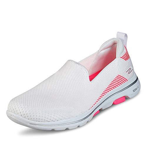 Skechers 15900 Damen Slipper aus Textilmaterial mit druckdämpfender Laufsohle, Groesse 42, weiß/rosa