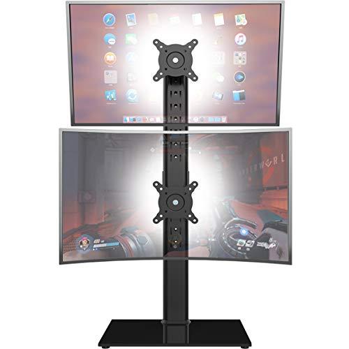 Doppio supporto per monitor - Supporto verticale per monitor a schermo verticale per schermi indipendenti Adatto per due schermi da 13 a 30 pollici con girevole, inclinazione, altezza regolabile