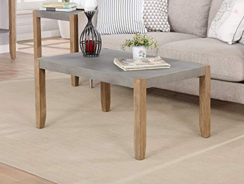 Newport 36' L Faux Concrete and Wood Coffee Table