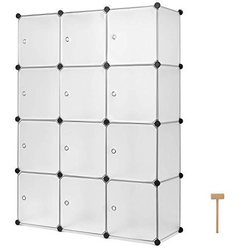 Homfa DIY Regalsystem Kleiderschrank aus Kunststoff Steckregal weiß Schrank Ordnungssystem 12 Würfel 110x36.5x145cm