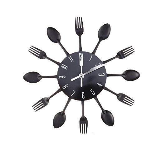 WINOMO Kreative Wanduhr Timelike Moderne Besteck Küche Löffel Gabel Wanduhr Spiegel Wandtattoo für Heimtextilien (Schwarz)