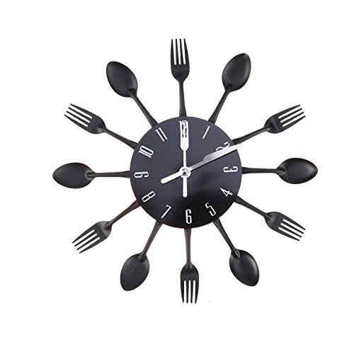 WINOMO Housewares Cutlery Wall Clock Kitchen Spoon Fork Wall Clock Mirror Wall Decal for Home Decoration(Black)