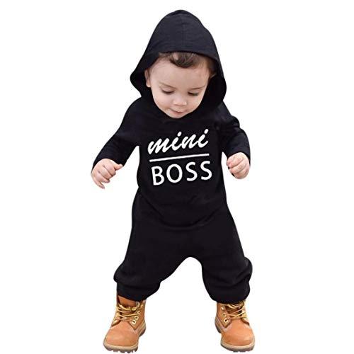 QinMM Mono con Capucha Boss Estampado para bebé niño, Peleles Body Tops de Primavera otoño Romper,