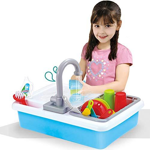 Liberty Imports Fregadero de cocina para niños con agua corriente, 20 piezas de juguete eléctrico para lavavajillas con grifo de...