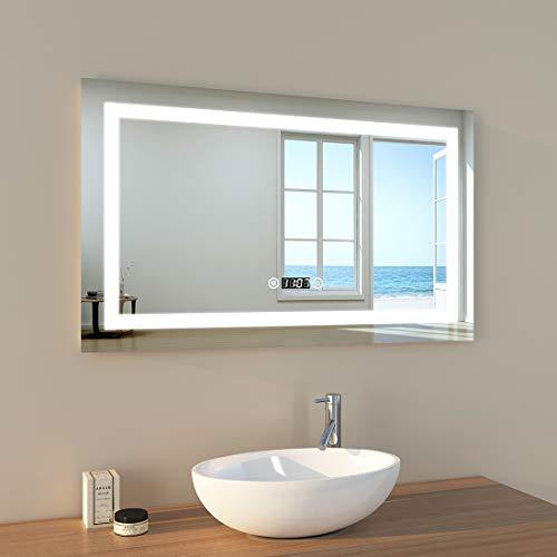 EMKE LED Badspiegel 100x60cm Badspiegel mit Beleuchtung kaltweiß Lichtspiegel Badezimmerspiegel Wandspiegel mit Touchschalter, beschlagfrei, Uhr, IP44 energiesparend