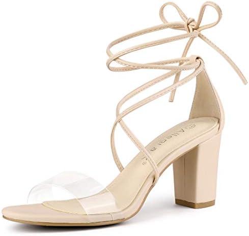 Allegra K Women s Clear Heel Block Heels Sandals Beige Lace Up Heels 10 M US product image