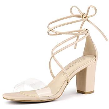 Allegra K Women s Clear Heel Block Heels Sandals Beige Lace Up Heels - 8.5 M US