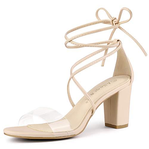 Allegra K Women's Clear Heel Block Heels Sandals Beige Lace Up Heels - 7.5 M US
