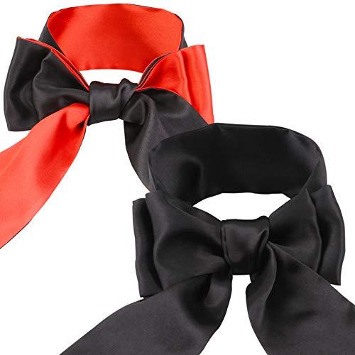 HOWAF Satin Augenmaske Band Augenbinde Blinder Schlafmasken Kostüm für Erwachsene Paare Liebhaber Geschenk zum Valentinstag, 2 Stück, (schwarz und rot)
