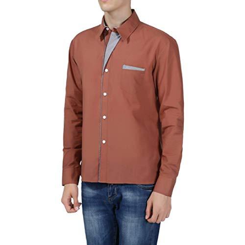 Camisa de Manga Larga para Hombre Camisa de Manga Larga Informal de Gran tamaño de Color sólido Simple Camisa de Manga Larga de Todo fósforo de Moda L