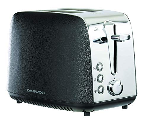 Daewoo Glace Noir Sparkling 2 Slice Toaster with Variable Browning Function Defrost & Cancel Controls, Slide Out Crumb Tray for Easy Cleaning, Self-Centering and Feature- (Black)