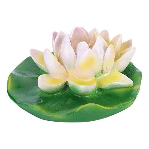 Omabeta Décor de Simulation de Fabrication exquise étanche pour Fontaine extérieure(Small and Medium White Lotus)