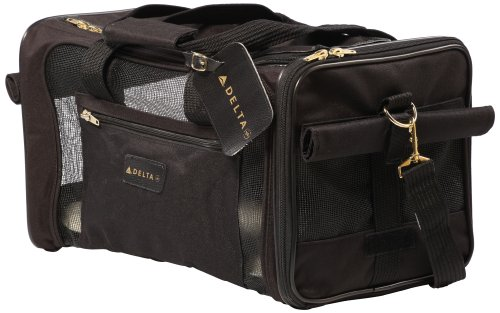 Sherpa, Delta Travel Pet Carrier, Airline Approved, Lightweight, Padded, Secure, with Carrying Strap, Mesh Windows, Safety Locks, Spring Frame, Black, Medium