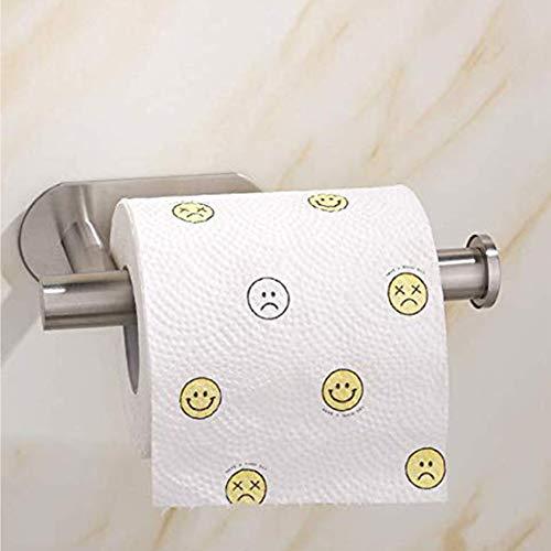 Porte Papier Toilette Auto-adhésif,Support Papier Toilettes Acier Inox,Porte Rouleau Toilette Pour Salle De Bain Et Cuisine,Pas De Forage 3m Auto-adhésif (Argent)