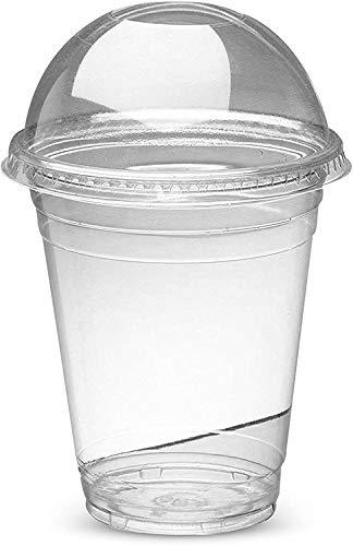 Wiederverwendbare, langlebige, starke Kunststoffbecher für Smoothie/Milchshakes, 284 ml, mit gewölbtem Deckel, 50 Stück