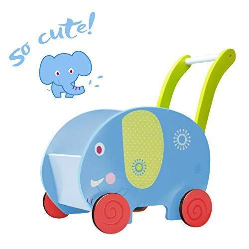 labebe - Lauflernwagen Holz Mädchen, Gehhilfe Baby Lauflernhilfe, Gehhilfe Holz Junge&Mädchen, Activity Lauflernwagen Bremse Blau, Kinder Laufwagen ab 1 Jahr, Activity Lauflernwagen Baby - Elefant