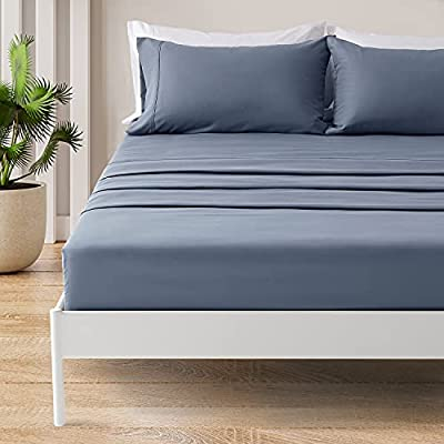 SONIVE Queen Bed Sheets Set Flint Blue 1800 Super Soft Brushed Microfiber 4 Pieces Bedding Queen Sheet Set with Fitted Sheet, Deep Pockets Easy Care