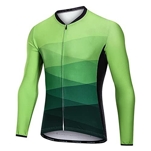 Maillot Bicicleta Hombre Mangas Largas Acolchado Forro Térmico de Lana Ciclismo Jerseys Bicicleta Camisa Cremallera con Bolsillos Invierno (Green,XXL)