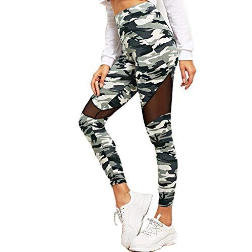 Yebutt Einzigartiges Mesh-Patchwork-Design Yogahose Damen Sommer Hohe Taille Gummiband Skinny Pilates Hose Tarnen Sportliche Hose, Die Gamaschen RüTtelt