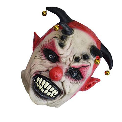 WINOMO Cabeza de Payaso Disfraz de Halloween Disfraz de Látex Sombrero de Fiesta de Payaso de Horror Monstruo Diablo Cabeza Casco con Campanas para Halloween Disfraz de Disfraz Disfraz