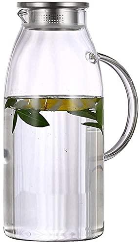 KMMK Hervidor de Agua de Uso Doméstico, Lanzador Tetera de la Caldera Del Jarro de Agua Tetera de Vidrio con Tapa de Helado Y Manejo de Borosilicato Resistente Al Calor de Cristal Jarra de Vino de Ca