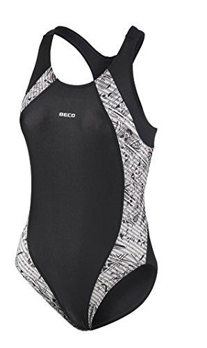 Beco Beermann Damen Schwimmanzug Aqua Badeanzug, Silber/Schwarz, 46