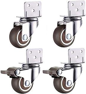 1,5 Pouce Caster Support de Fleur de Roulette de Meubles /à Angle Droit en Forme de L avec Roulette de Frein Meubles de Rouleau de lit b/éb/é 1 Pouce 1,25 Pouce 2 Pouces Roulette