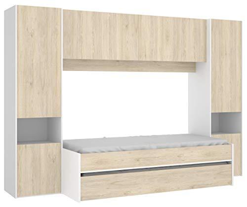 Miroytengo Cama Nido y Armario Puente Kwai Color Blanco Natural habitación Infantil Juvenil Dormitorio 90x190 cm