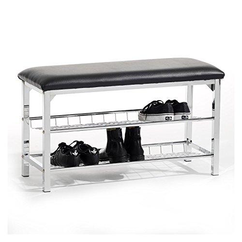 Sitzbank Schuhbank Garderobenbank INA, mit 2 Schuhregalfächern, Sitzfläche gepolstert, Bezug Kunstleder schwarz