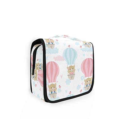 Large Hanging Toiletry Bag Cute Bears On Balloon And Clouds Makeup Cosmetic Bag Bathroom Shower Bag Travel Organizer with Hook
