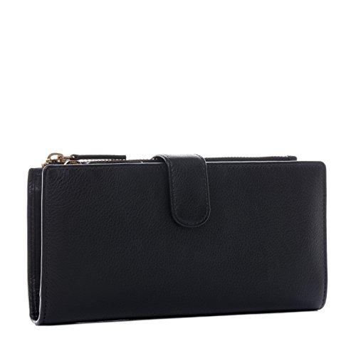 BACCINI® Portafoglio vera pelle LIMA grande XL pochette borsellino portamonete donna cuoio nero