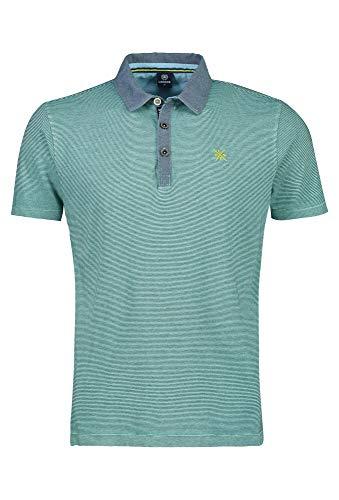 LERROS Herren Polo BTN. Stripe Poloshirt, Grün (Jade Green 617), Large (Herstellergröße:L)