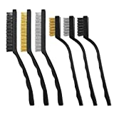 6 pezzi spazzole metalliche, spazzole metallo per rimuovere ruggine, spazzole in filo nylon e rame, spazzole per pulire vernice per saldatura delle scorie e ruggine - 7/9 pollici