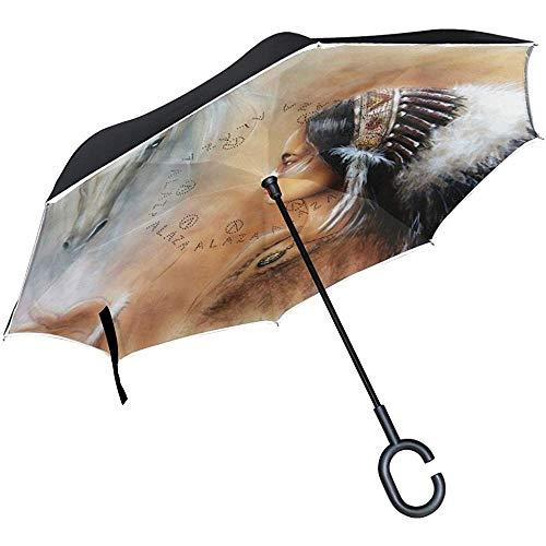 Dliuxf Inverted Airbrush Two White Horse Regenschirm Cars Reverse Windproof Regenschirm für das Auto im Freien mit C-förmigem Griff
