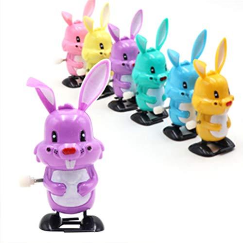 NUOBESTY 12 Stück Ostern Aufziehspielzeug Kaninchen Uhrwerk Spielzeug für Kinder (Zufällige Farbe)