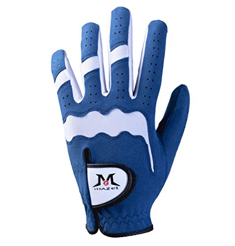 MAZEL Herren Golfhandschuhe für Golfer, jedes Wetter, waschbar, linke Hand, blau, Größe S