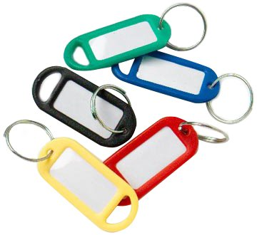 Merriway BH01822 Assorted Coloured Key Ring Tags with Labels - Assorted Colours, Pack of 48