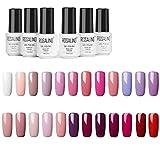 ROSALIND 24PCS/Set esmaltes semipermanente purpurina color rojo gel barniz UV LED duradero Esmalte de gel de uñas,7ml (02)