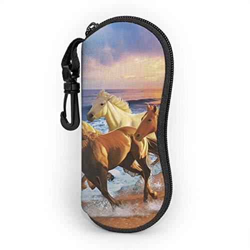 OKIJH Sunglasses Soft Case Ultra Light Portable Neoprene Zipper Eyeglass Case Glasses Protection Pouch with Belt Clip, Horses on the Beach