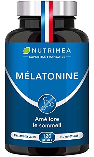 Mélatonine 100% Pure – Régulateur de l'horloge biologique – Sommeil réparateur – Vitamine du rêve – Limite le jetlag – Confère calme et sérénité – Fabrication française – Nutrimea