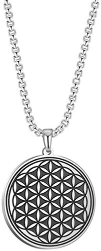 NC188 Flower Of Life Necklace Stainless Steel Chain Round Pendant Jewelry Choker Silver Color Statement Men Necklace Gift 60cm