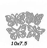 Molde de cuchillo de papel de plantilla de corte de combinación de mariposa Muere Diy Molde de cuchillo de acero al carbono en relieve 10X7.5Cm