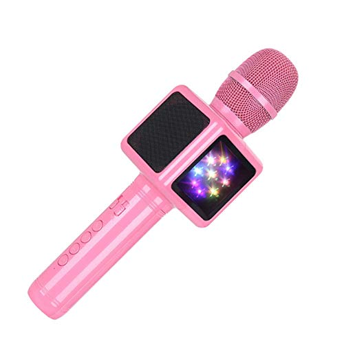YCAXZSH Kerst microfoon Karaoke Microfoon Draadloze Bluetooth Speaker Muziek Speler Draagbare Handheld Microfoons Party KTV Zingen apparaat Gift for Girl, Poeder