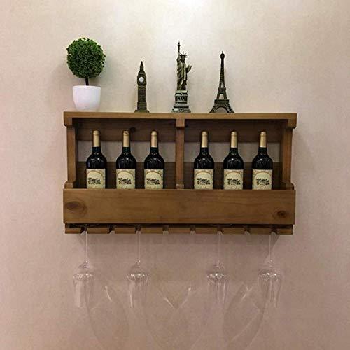 NoNo Weinliebhaber Bar Möbel & Moderne Esszimmer Holz Weinregale Wandhalter/Vintage Weinflaschenhalter Wand Montiert/Rustikale Weinhalter/Wandregal Lagerung Veranstalter Rack/Hängenden Weinschrank