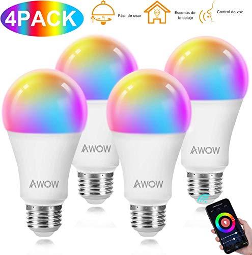 Smart WLAN Lampe,AWOW 9W LED WiFi Glühbirnen E27 RGBW 800LM,Mehrfarbige dimmbar, bis zu 16 Millionen Farben,Kompatibel mit Alexa und Google Assistant 4er Pack [Energieklasse A+] (4pack*RGBW)