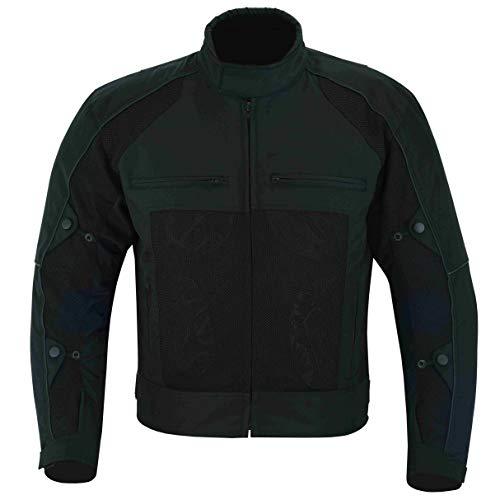 Warrior Gears Chaquetas de moto Air Mesh para hombre   Chaquetas de moto para hombre con forro extraíble y armaduras CE, chaquetas impermeables para hombre - negro (4x_l)