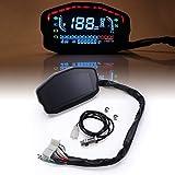 Moto Digital Tachimetro, contachilometri LED/indicatore di direzione/Notte a cristalli liquidi della luce di segnale Backlight/Gear temperatura e dell'olio Gauge, per 2 e 4 cilindri Moto,Nero