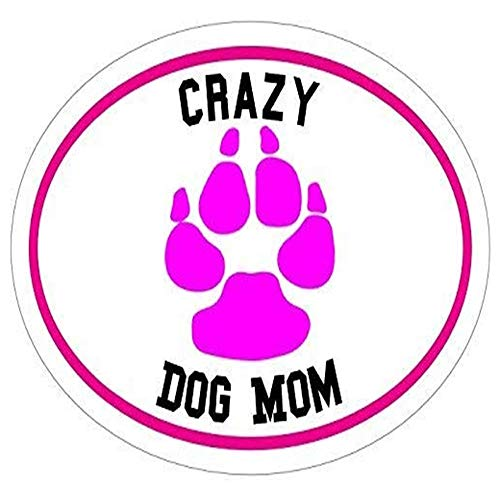 Dog Paw - Pink Paw Crazy Dog Mom Vinyl - Dog Mom - Dog - Perfect Dog Owner Gift - Sticker Graphic - Auto, Wall, Laptop, Cell, Truck Sticker for Windows, Cars, Trucks