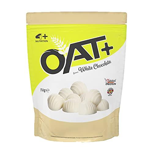 4+ NUTRITION - Oat+, Integratore Sportivo, Farina d'Avena, Fonte di Proteine, Crescita della Massa Muscolare e Riduzione della Stanchezza e Affaticamento, Gusto White Choco, 1 kg